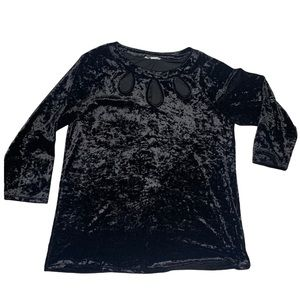 Ava James Crushed Velvet Top with Front Cut Outs